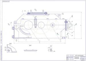 1.Сборочный чертеж редуктора коническо-цилиндрического трехступенчатого массой 60, в масштабе 1:1