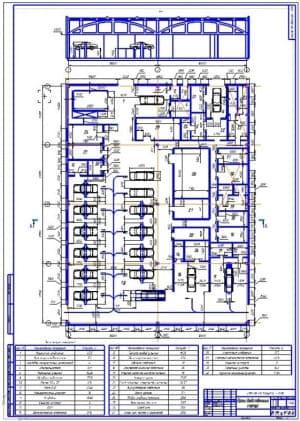 1.Чертеж плана производственного корпуса ремонта и технического обслуживания транспорта (формат А1)