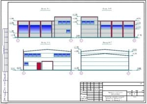 1.Чертеж цветового решения фасадов 5-1, 1-5, Г-А и А-Г с указанием отметок (формат А1)