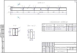 1.Сборочный чертеж балки покрытия Б-1 с указанными размерами, со спецификацией элементов