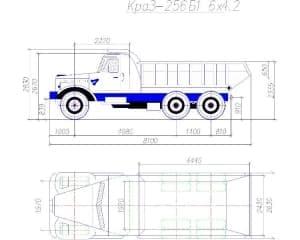 19.Чертеж общего вида автомобиля грузового КраЗ-256Б1*4.2 в 2х проекциях – виды сбоку и сверху, с техническими параметрами (формат А1)