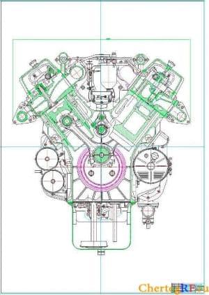 Чертеж поперечного разреза V-образного двигателя 12 ЧН 13/14 (формат А0)