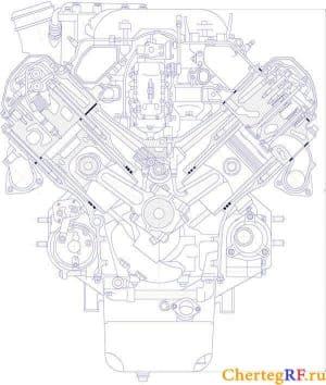 Чертеж дизельного V-образного двигателя ТМЗ-8423