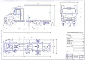 Чертеж вида общего автомобиля грузового ЗИЛ 6301-ВА (компоновка) в масштабе 1:15