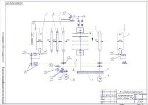 Чертеж кинематической схемы многопильного станка модели Ц5Д (формат А2)
