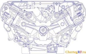 Чертеж поперечного разреза дизельного V-образного двигателя