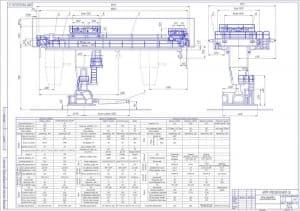 1.Сборочный чертеж крана мостового мульдозавалочного в масштабе 1:50