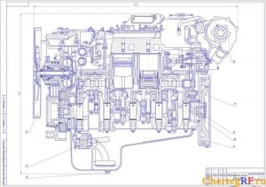 Сборочный чертеж продольного разреза ДВС ЯМЗ-238 с указанием габаритных размеров и позиций (формат А1 )
