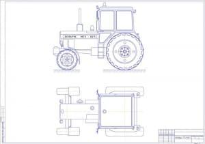 Общего вида чертеж трактора Беларус МТ3-82.1