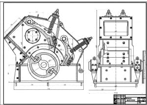 Сборочный чертеж дробилки однороторной СМД-85 в масштабе 1:2.5