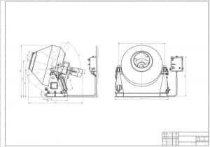 Сборочный чертеж смесителя гравитационного СБ-94 в 2х проекциях – виды сбоку и спереди, с габаритными размерами (формат А1)