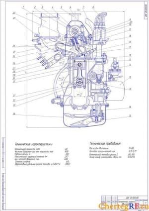 Сборочный чертеж двигателя с техническими характеристиками, поперечный разрез (формат А1)