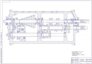 Сборочный чертеж коробки подач токарного станка z=32 в масштабе 1:1