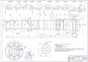 Чертеж шпиндель токарно-винторезного станка 16К20 массой 29.75, в масштабе 1:1