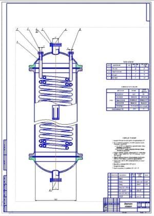 2.Сборочный чертеж варочной колонки для приготовления сиропа и производства карамели (формат А1)