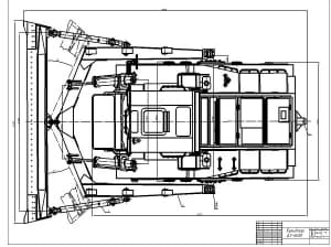 2.Вид сверху бульдозера модели ДЗ-60ХЛ на базе трактора Т-330 А1