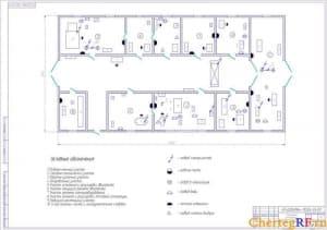 Чертеж планировки центральной ремонтной мастерской автотранспорта с расстановкой электро- и эксплуатационного оборудования