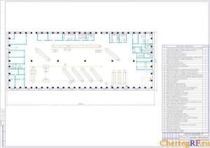 Чертеж производственного корпуса АТП на 173 грузовых автомобиля в масштабе 1:400 с экспликацией помещений и их площадями