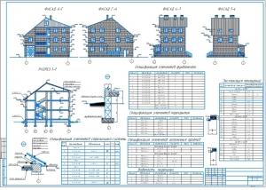 2.Чертеж архитектуры (лист 2) А1 с фасадами и разрезом 1-1
