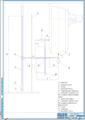 2.Схема действия устройства для измерения биения шин и ободьев колес А1