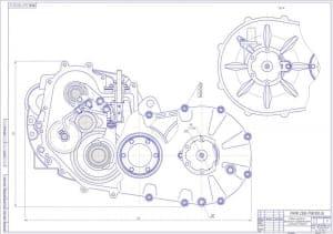 Сборочный чертеж главной передачи с вариатором, дифференциалом и фланцами полуосей лист 2 (вид сбоку). На чертеже отмечены некоторые размеры и указаны позиции деталей, которые перечислены в спецификации. Выполнены местные разрезы и выносные виды (формат А