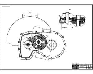 Сборочный чертеж коробки передач ВАЗ 2108 лист 2. Выполнен поперечные разрез, обозначенный на листе 1. Выполнен также выносной разрез сцепления валов. Обозначены размеры. (формат А1)