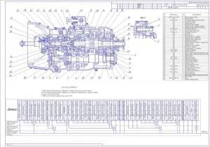 Сборочные чертеж коробки передач КАМАЗ со спецификацией. Обозначены позиции деталей и размеры. На чертеже выполнен продольный разрез КПП и необходимые выносные разрезы. Приведены технические требования и таблица сложности сборочных единиц (формат А0)