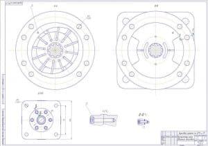 Пластинчатый насос двойного действия в масштабе 2:1 с изображением видов и разрезов, положение которых указаны на предыдущем чертеже. Также выполнено два выносных разреза и обозначены некоторые размеры. (формат А1 )