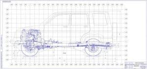 Чертеж общего вида шасси автомобиля (главный вид) лист 1 (формат А2*3)