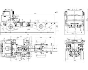 2.Чертеж ОВ грузового автомобиля КАМАЗ-4326 в двух проекциях (формат А1)