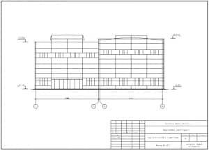 22.Чертеж фасада цеха для ремонта комбайнов в масштабе 1:200, с указанными отметками и размерами (формат А3)