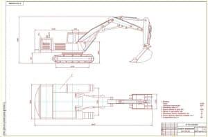 2.Чертеж общего вида экскаватора гидравлического ЭО-4121 с техническими характеристиками