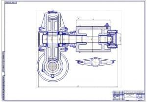 2.Чертеж вида спереди механизма подъема груза крана-стрелы (формат А1)