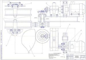Чертеж сборочный приводной установки с указанием общего передаточного количества привода, частоты вращения крана 12 об/мин