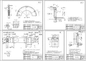 Чертеж деталей: полукрышки с размерами и уточняющими схемами, оси с обозначением диаметров, крышка подшипника с размерами и отклонениями