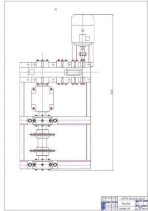 Чертеж СБ привода. Вид спереди с указанием внешних размеров (формат А1)