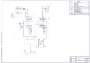 2.Чертеж сборочный схемы гидравлической с указанием деталей (формат А1)