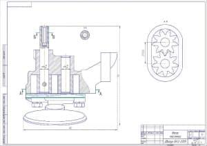 2.Чертеж маслонасоса двигателя ВАЗ-2109 в масштабе 1:2. Выполнены продольный и выносные разрезы. Проставлены основные конструкционные размеры (формат А2)