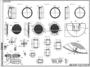 Чертеж общего вида испаритель И-1. Лист 2. На чертеже изображено 26 проекций: деталь поз