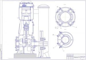 2.Чертеж вида общего компрессора 7ГП, разрезов А-А и Б-Б (формат А1)