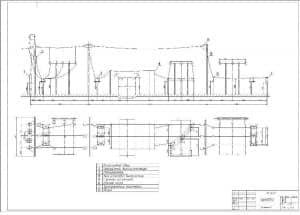 2.Чертеж плана и разреза ОРУ высокого напряжения подстанции при проектировании РПС с указанными размерами и деталями (формат А1)