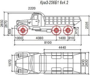 2.Чертеж вида общего автомобиля грузового КРАЗ-256Б1 6*4.2 в 2х проекциях – виды сбоку и сверху, с указанными габаритными размерами (формат А1)
