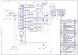 2.Чертеж схемы гидравлической автогрейдера с указанными элементами: механизм рулевой, гидроусилитель сцепления, гидроусилитель тормозов, калорифер, гидробак, гидрозамок двусторонний системы управления рабочим органом, гидрозамок двусторонний системы