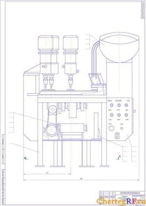 Автомат развальцовки осей основания сборочный чертеж с размерами (формат А1)