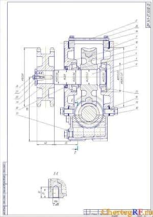 2.Чертеж сборочный редуктора червячного в разрезе (формат А2)