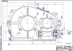 2.Сборочный чертеж редуктора червячно-цилиндрического в масштабе 1:1, с указанными размерами для справок (формат А1)