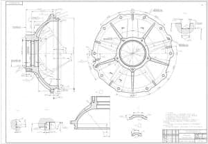 2.Чертеж детали крышка редуктора массой 12.0, в масштабе 1:1