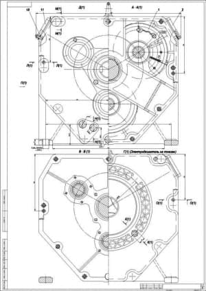 2.Чертеж сборочный редуктора с указанными размерами и с примечанием: электродвигатель не показан (формат А4)
