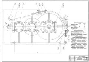 2.Сборочный чертеж редуктора цилиндрического двухступенчатого в масштабе 1:1