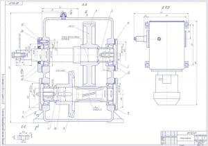 2.Чертеж сборочный мотор-редуктора в масштабе 1:1, с указанием габаритных и посадочных размеров, в разрезах А-А, Е-Е, Д (формат А1)